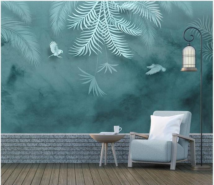 Dark Blue Background Tropical Leaves By Misszhubridal On Zibbet Summer holiday lifebelt and exotic palm trees on tropical island background blue ocean landscape. dark blue background tropical leaves wallpaper palm leaves with flying birds wall mural wall decor