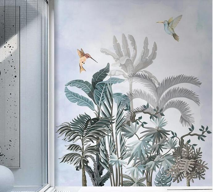 Tropical Rainforest Banana Tree Wallpaper , Flying Birds and Tropical Plants