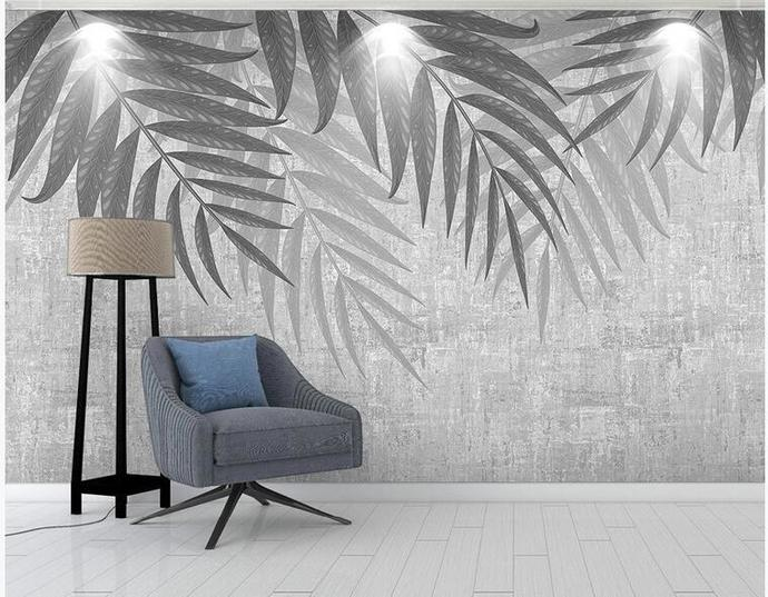 Hanging Banana Leaves Wallpaper , Simple Grey Leaves with Flying Birds Wall