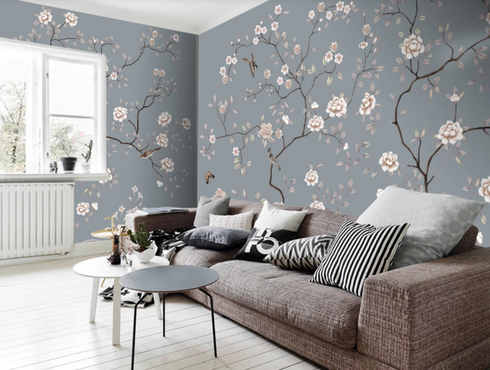 Chinoiserie Vine Flower Wallpaper, Flying Birds and Flowers Wall Mural Wall