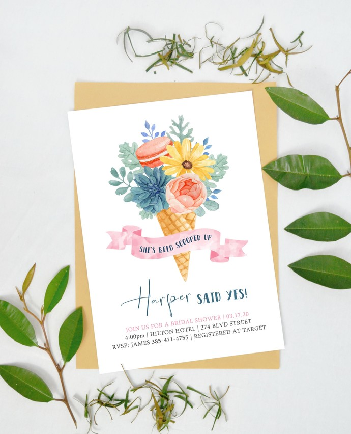 Ice Cream Bridal Shower Invitation, She's Been Scooped Up, Here's the Scoop, Ice