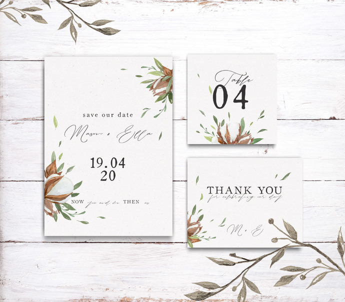Cotton Greenery Wedding Template, Printable Cotton flower Wedding 16