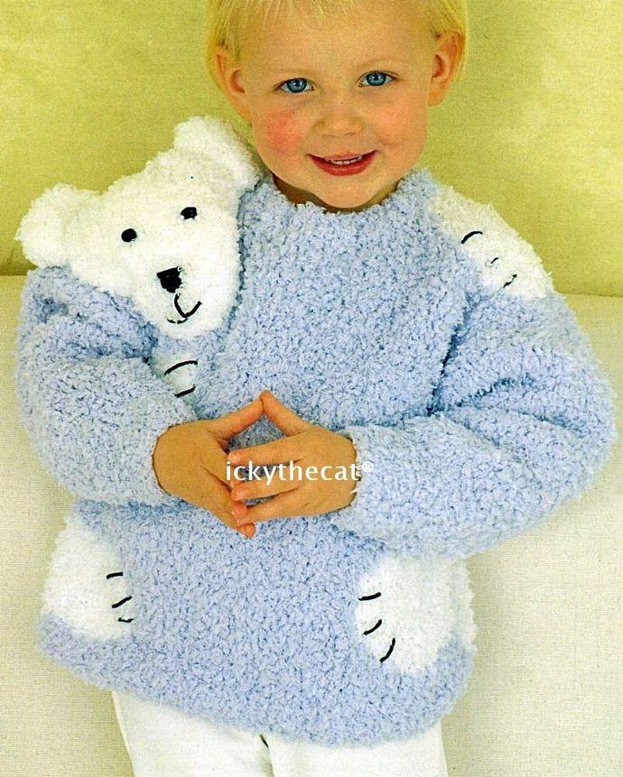 "PDF Digital Download Vintage Knitting Pattern Teddy / Polar Bear ""Hug"" Baby"