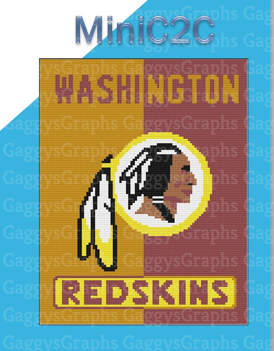 Washington Redskins, MiniC2C Lapghan. Includes Graph, color coded written