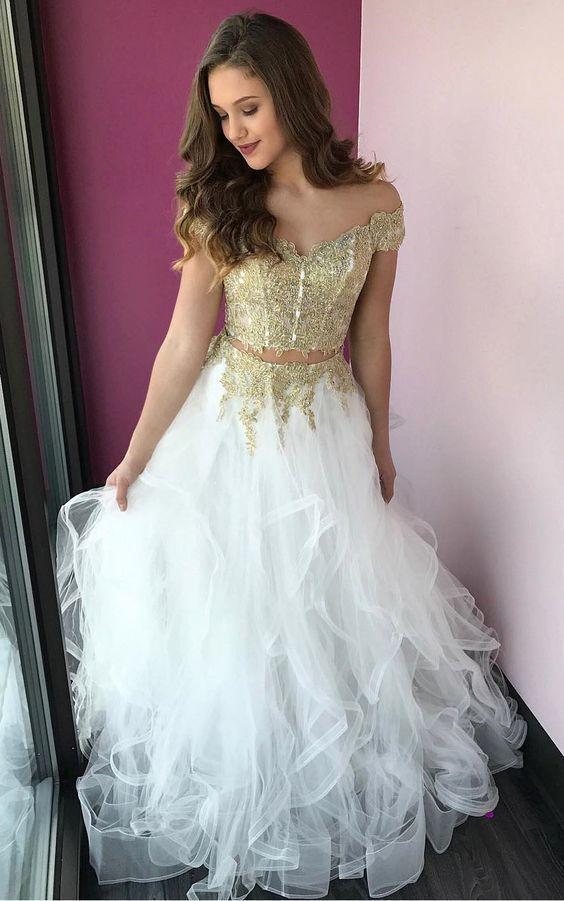 Elegant Two Pieces A-Line Prom Dresses,Long Prom Dresses,Cheap Prom Dresses,