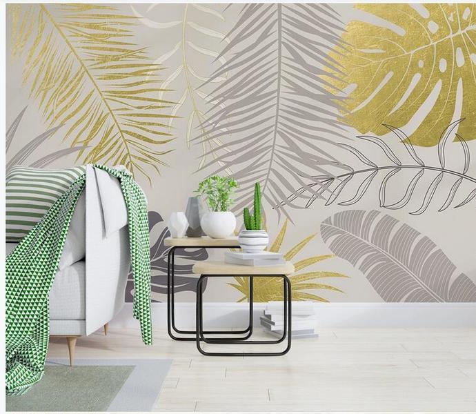 Simple Yellow Leaves Wallpaper , Tropical Banana Leaves Wall Mural Wall Decor