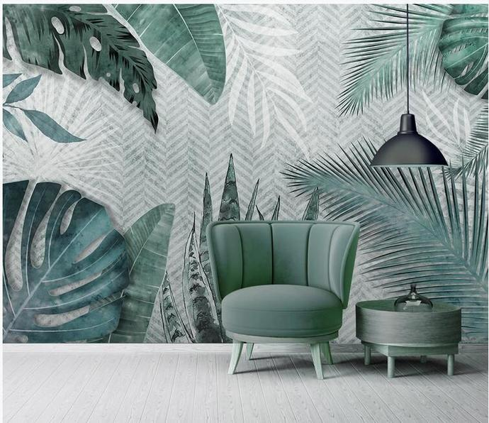 Tropical Banana Leaves Wallpaper , Palm Leaves Wall Mural Wall Decor