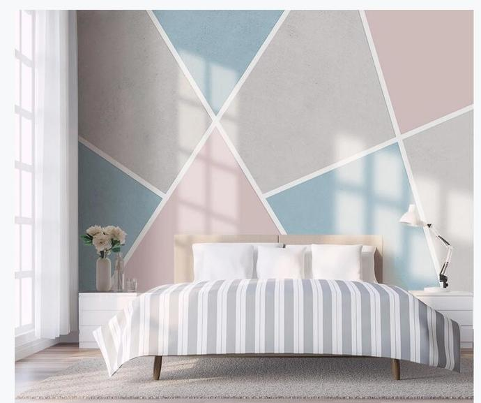 Colorful Geometry Mountains Wallpaper , Simple Geometry Wall Mural Wall Decor