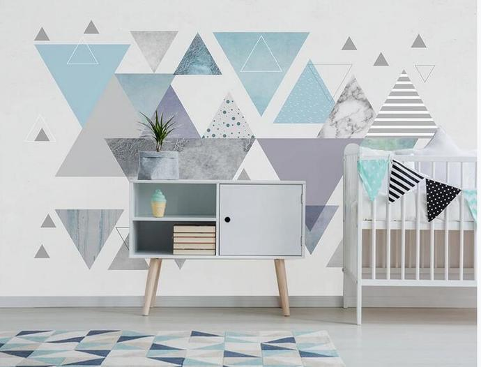 Blue Geometry Triangle Wallpaper , Simple Geometry Wall Mural Wall Decor for