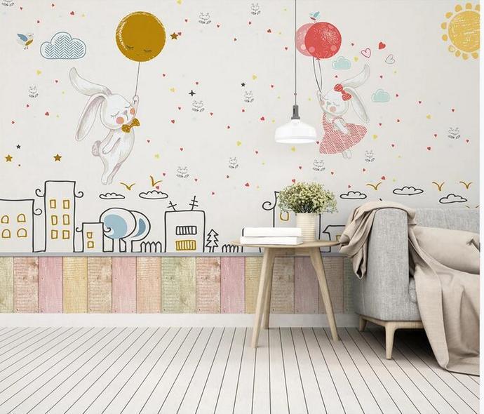Cartoon Rabits Couple Nursery Wallpaper, Stars and Moon Buildings Kids' Room