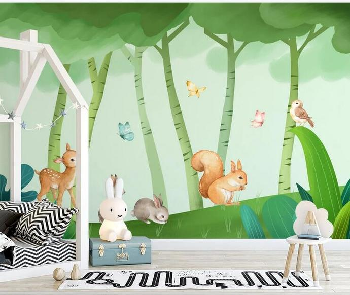 Cartoon Rabits Trees Forest Nursery Wallpaper, Flying Butterflies and Deer