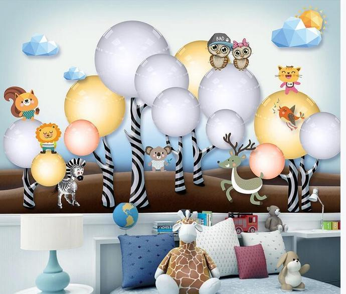 Cartoon Trees Forest Animals Nursery Wallpaper, Owls and Deer, Bear Animals
