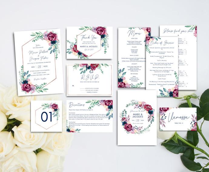 Burgundy Navy Wedding Template, Boho Wedding Invite Template Kit 17