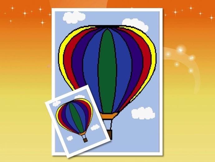Hot Air Balloon Pattern Graph With Half Double Crochet Written