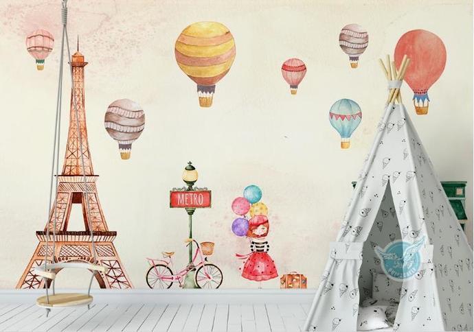 Original Nordic Cartoon Balloon Children Room Background Wall the Eiffel Tower