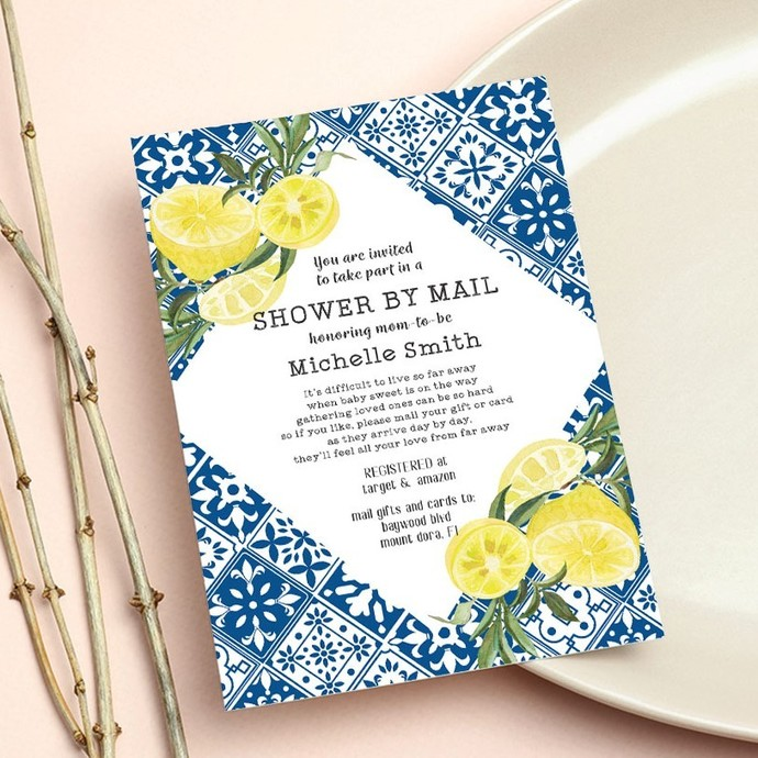 Mediterranean Baby Shower Invitation, Blue Shower by mail Invite, Long Distance