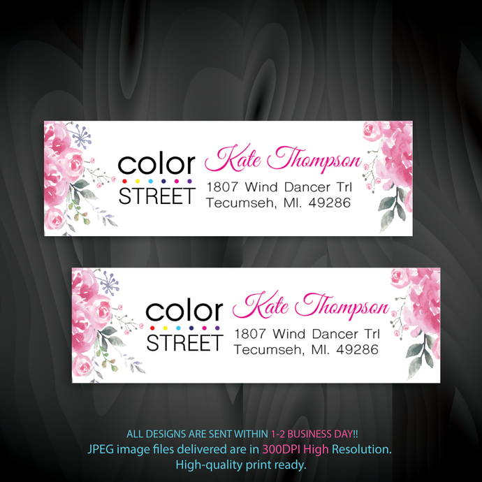 Pink Floral Color Street Address label, Color Street Return Address Label CL41