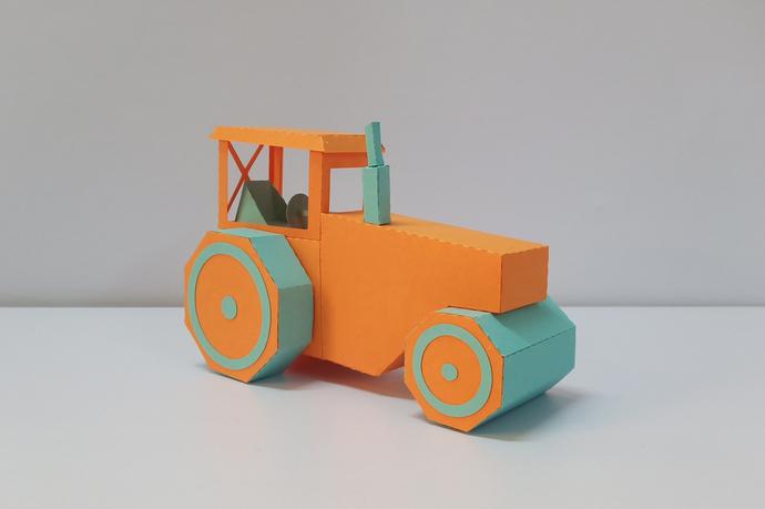 DIY Papercraft Road Roller,Low poly papercraft, 3d papercraft,Construction