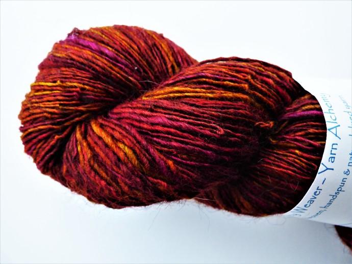 Handspun Yarn – 70/30% Blue Faced Leicester Wool and Tussah Silk – 107 grams –