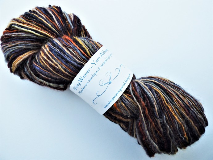 Handspun Yarn – 70/30% Blue Faced Leicester Wool and Tussah Silk – 106 grams –