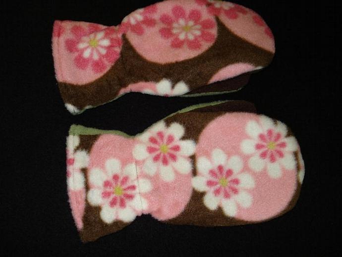 Mittens: Fleece with Fleece Lining Brown, Pink & Green