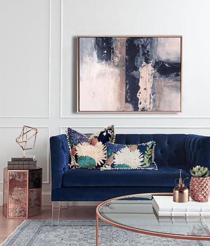 Abstract Art, Printable Abstract Wall Art, Pink art, blue, wall art, blue and