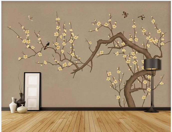 Chinoiserie Plum Tree Wallpaper, Brown Background Flying Birds and Flowers Wall