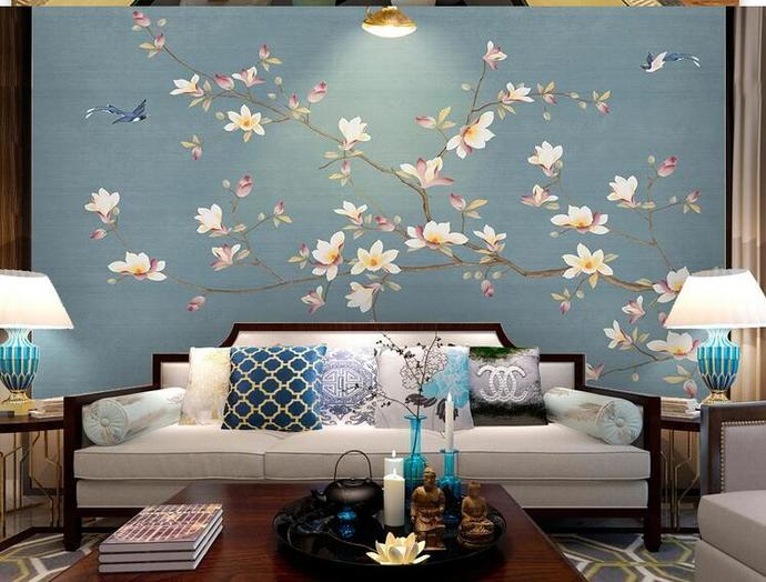 Chinoiserie Magnolia Wallpaper, Blue Background Flying Birds and Flowers Wall