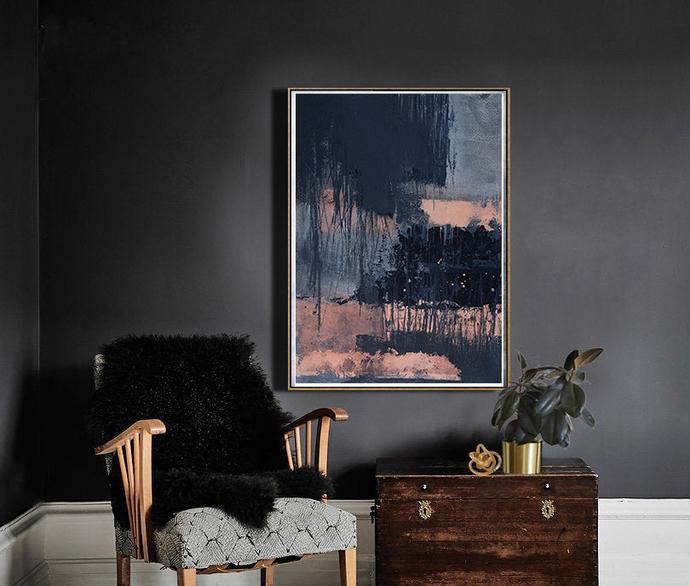 Abstract printable art, Navy blue brush strokes and light pink, Modern art