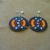 Native American Style Rosette Beaded Geometric Earrings in Hematite,Pumpkin and