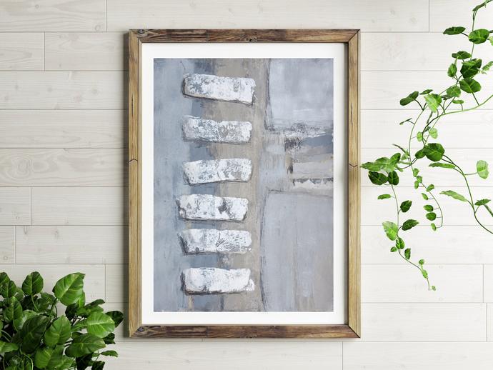 Neutral acrylic painting on paper, Original Art, , wall art, custom word art,