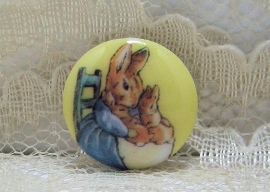 Beatrix Potter Mrs. Rabbit and Babies Clothing Button back marked JHB