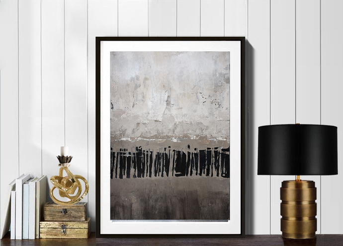 Contemporary Wall Art, Modern Art, ivory beige black abstract ,acrylic on paper,