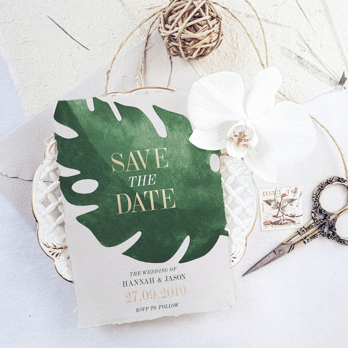 Tropical Save the Date Template, Printable Tropical Wedding Cards 19