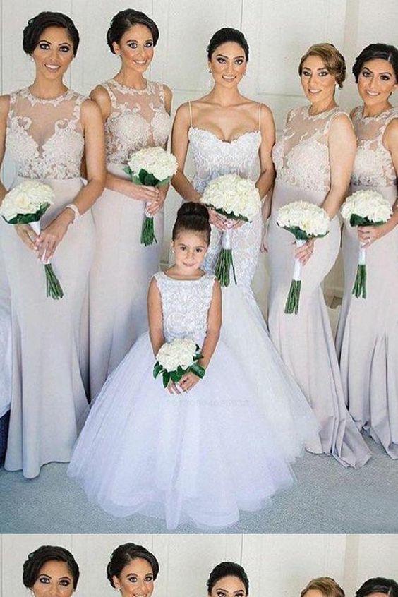Elegant Lace Appliques Mermaid Long Bridesmaid Dresses