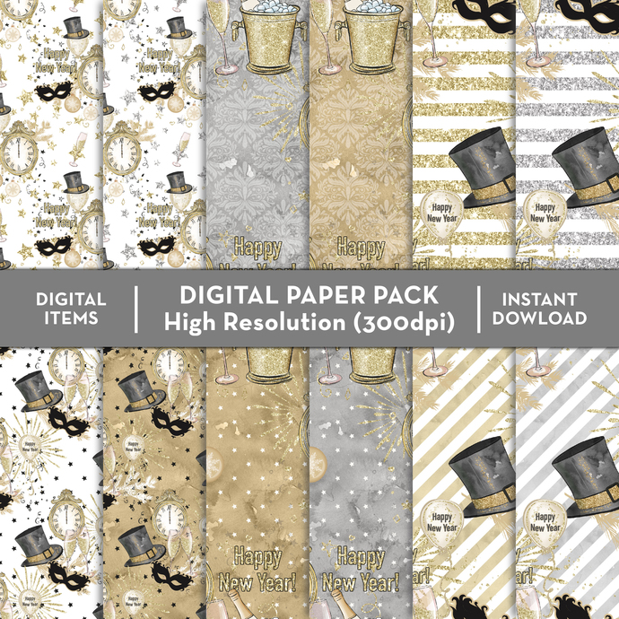 Party Happy Time Paper, Party Time Watercolor, Party Time Digital Paper Pack,