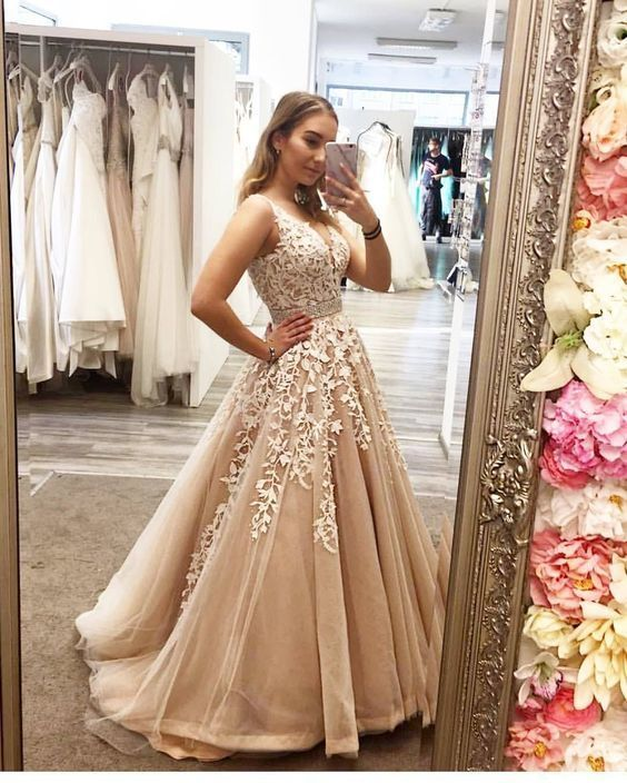 pageant dresses for women beaded champagne prom dresses long lace appliqué v
