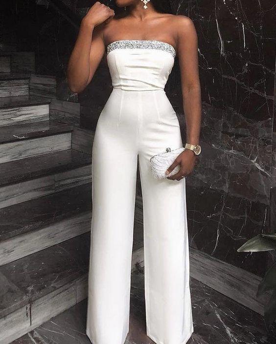 white jumpsuit for women strapless beaded elegant pant suit for weddings vestido