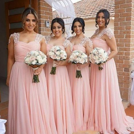 blush pink bridesmaid dresses long chiffon 2020 lace appliqué beaded elegant