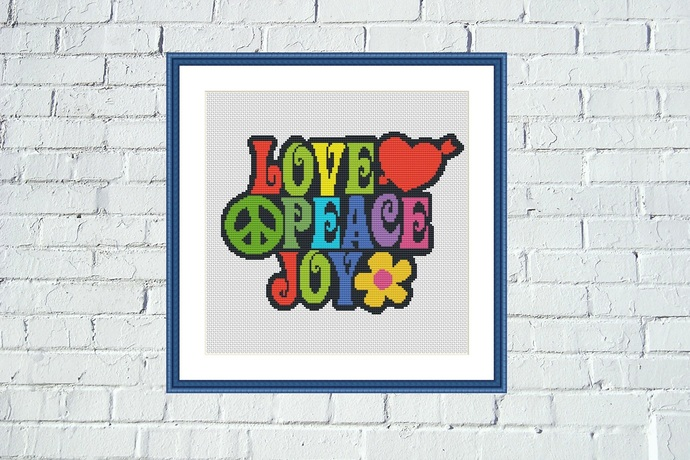 Love Peace Joy typography cross stitch pattern