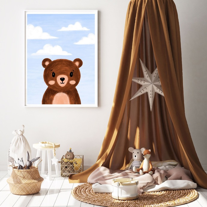 Bear animal nursery printable wall art, print, forest animal, peekaboo, blue