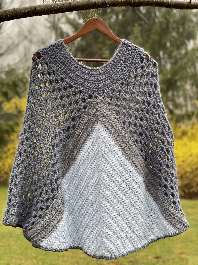 crochet pattern//  Rainy Day Poncho, Fiercehook, Granny Square, Crochet, Poncho