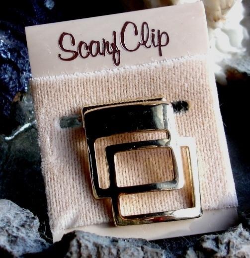 Vintage Goldtone Scarf Clip Mod 1970's Double Square Geometric Design