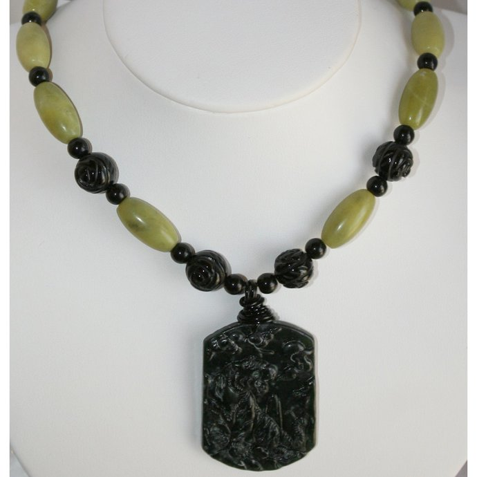 Natural Jade Hand Carved Chinese Pendant, Large Black Tiger Pendant Necklace,