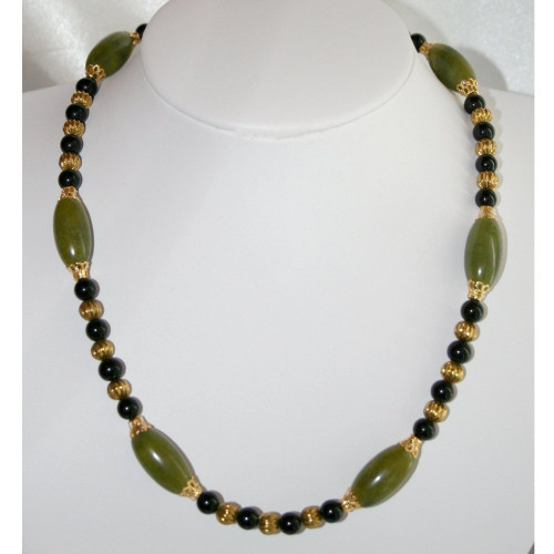 Chunky Green Jade Statement Necklace, Black Onyx with Gold Bead Jewelry, Green