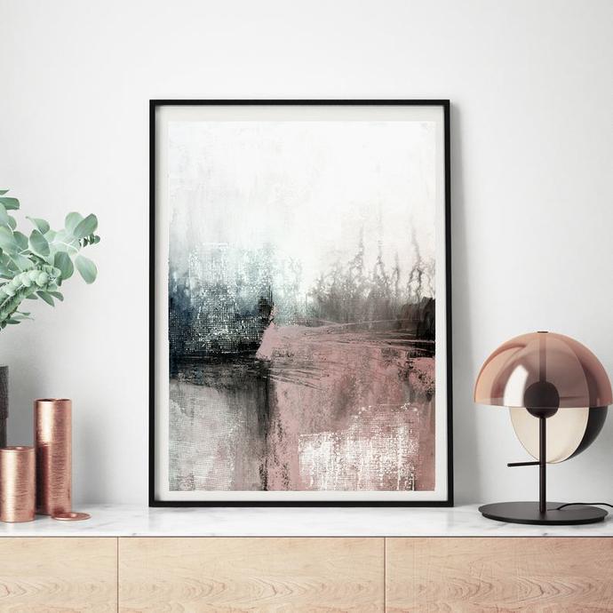 Abstract Art, Printable Abstract Wall Art, Pink art, pink black wall art ,