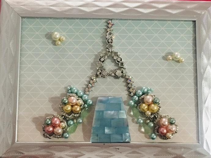 Jewelry Art - 5x7 Frame - Eiffel Tower Scene