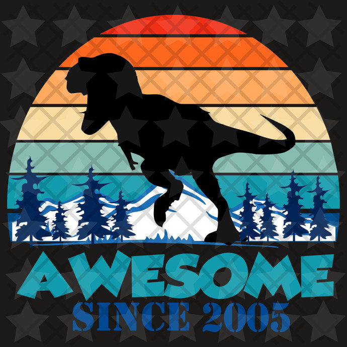 Awesome since 2005, you are awesome, vintage svg, born in 2005, 15th birthday,