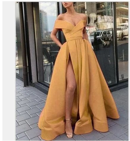 off the shoulder prom dresses with pockets 2021 yellow satin simple elegant