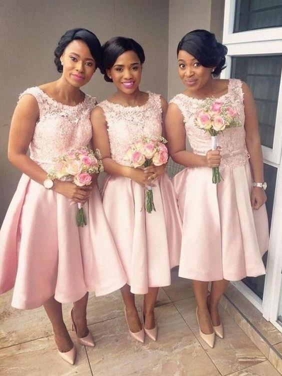 short bridesmaid dresses 2020 lace appliqué sleeveless cheap satin wedding party